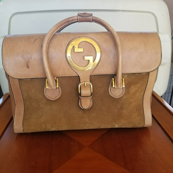 9a39623954f Gucci Handbags - VINTAGE GUCCI Brown leather   Suede Travel Bag